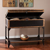 Industrial Modern Travel Trunk Console Sofa Table with Bottom Shelf
