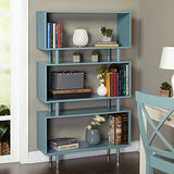 Mid Century Modern Bookshelf with 3 Shelves and Solid Wood Legs (Blue)