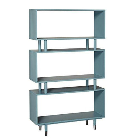 Mid Century Modern Bookshelf With 3 Shelves And Solid Wood Legs Blue