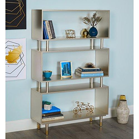 Mid Century Modern Bookshelf with 3 Shelves and Solid Wood Legs (Champagne  Gold)