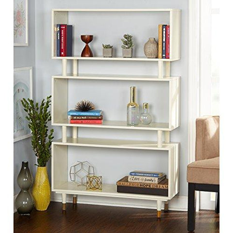 Mid Century Modern Bookshelf with 3 Shelves and Solid Wood Legs  (White)