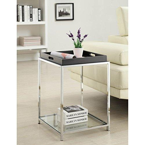 Contemporary Square End Table Glass Top with Removable Tray and Shelf (Black)