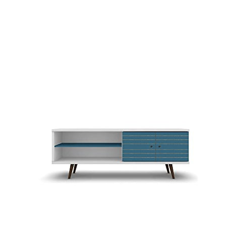 Mid Century Modern 62.99 Inch TV Stand Storage with 3 Shelves 2 Doors and Solid Wood Legs (White and Aqua Blue)
