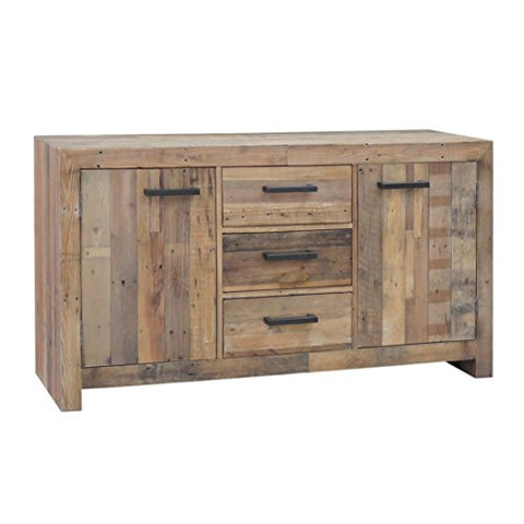 Modern Rustic Pine Wood Storage Buffet with 2 Cabinets and 3 Drawers