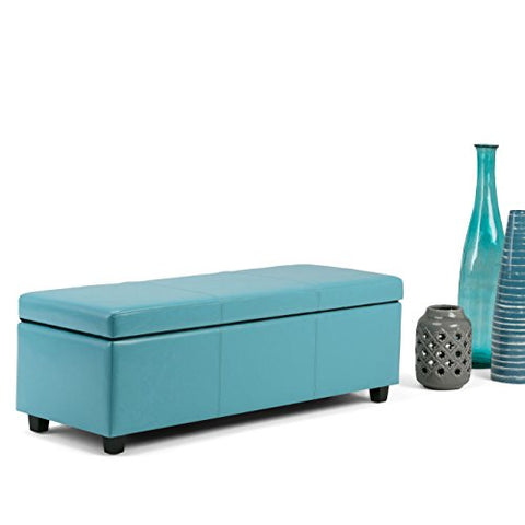Modern Transitional Blue Faux Leather Upholstery Storage Ottoman Bench with Solid Wood Frame