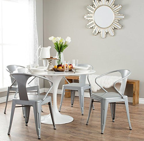 Set of 4 Silver French Bistro Metal Chairs in Glossy Powder Coated Finish Steel Stackable Dining
