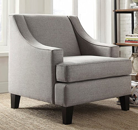 Modern Gray Linen Fabric Upholstered Swoop Arm Chair
