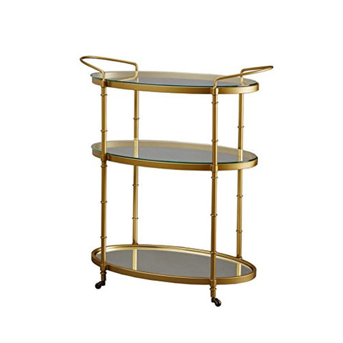 Glamour Oval Gold 3 Tier Metal Liquor Bar Serving Cart with Glass and Mirror Bottom - Low Profile Wheels
