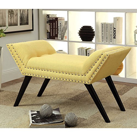 Modern Button Tufted Yellow Linen Upholstered Angled Bench with Silver Nailheads and Black Wood Legs