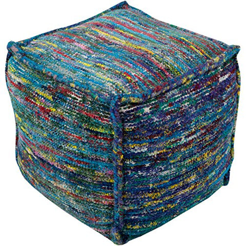 Contemporary 18 Inch Cotton Square Pouf  (Blue)