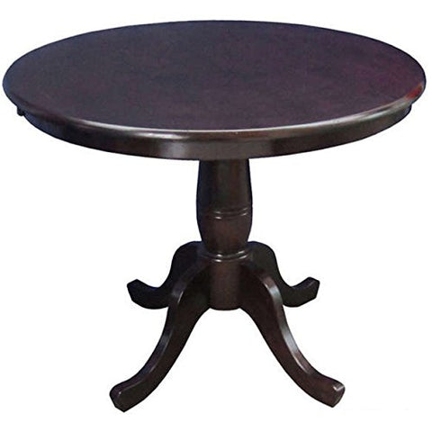 Country Style 30-inch Wood Round Top Pedestal Base Dining Table (Rich Mocha)