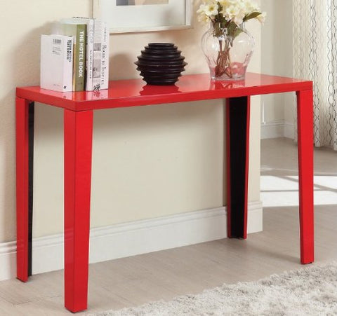Tremendous Euro Modern Red Gloss Lacquer Console Sofa Hallway Accent Table Machost Co Dining Chair Design Ideas Machostcouk