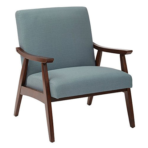 Mid Century Modern Wood Fabric Upholstered Accent Arm Chair with Espresso Solid Wood Frame  (Aqua Blue)