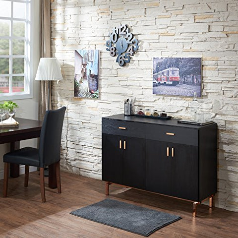 Contemporary Wood Sideboard Buffet Table with Metal Legs Wine Holder 2 Drawers and 2 Cabinets  (Black/Rose Gold)