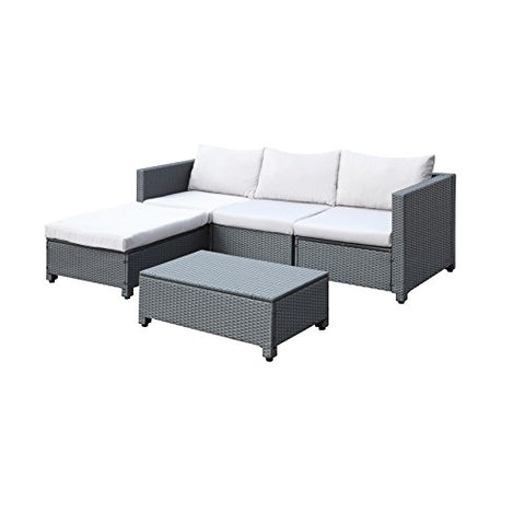 Modern Outdoor Gray Resin Wicker Sectional Sofa Patio Set with Light Gray Cushions - 2 Corner Chairs, Armless Chair, Ottoman and Coffee Table