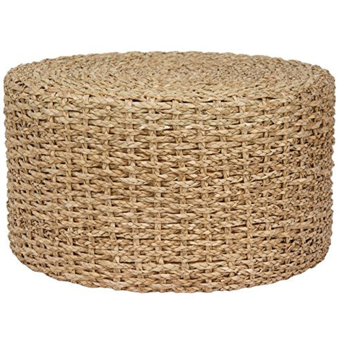 Contemporary Round Hand Knotted Rush Grass Ottoman Coffee Table  (Natural)