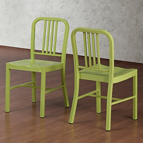 Set of 2 Green Metal Chairs with Back in Glossy Powder Coated Finish Steel Dining Indoor