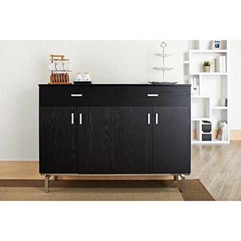 Contemporary Wood Sideboard Buffet Table with Metal Legs Wine Holder 2 Drawers and 2 Cabinets  (Black)