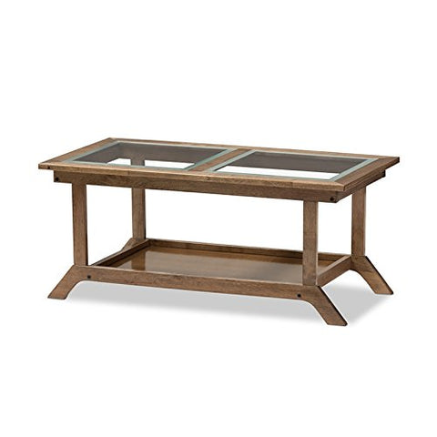 Contemporary Brown Wood Glass Top Coffee Table with Slatted Open Shelf