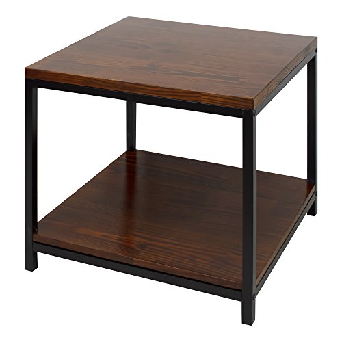 Contemporary Mocha Solid Wood End Side Table with Black Wood Frame and Bottom Shelf