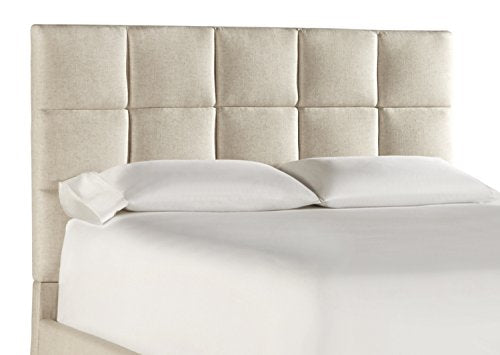 ModHaus Modern Multi Square Panel Beige Upholstered Padded Queen Headboard