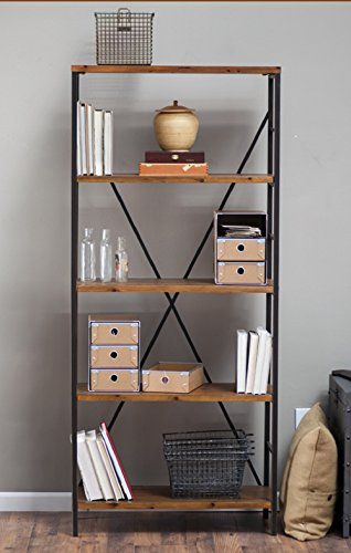 Rustic Wood Bookcase with Adjustable Shelves Featuring an Industrial Loft Look