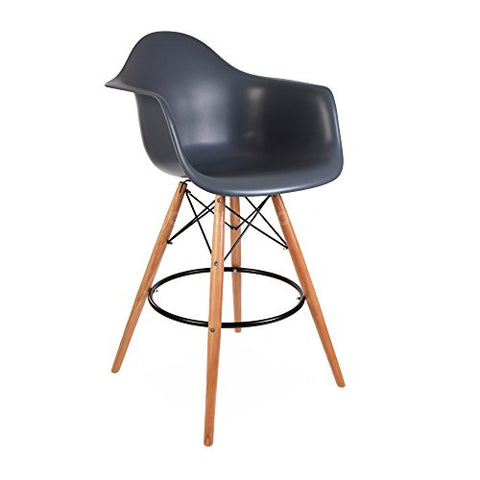ModHaus Mid Century Modern Eames DAW Style Gray Counter Stool with Dowel Wood Base HIGH QUALITY Satin Finish