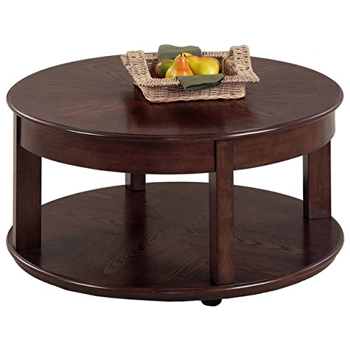 Contemporary Style Castered Round Shaped Wooden Top Cocktail Coffee Table with Bottom Shelf | Ash Finish, Living Room Decor