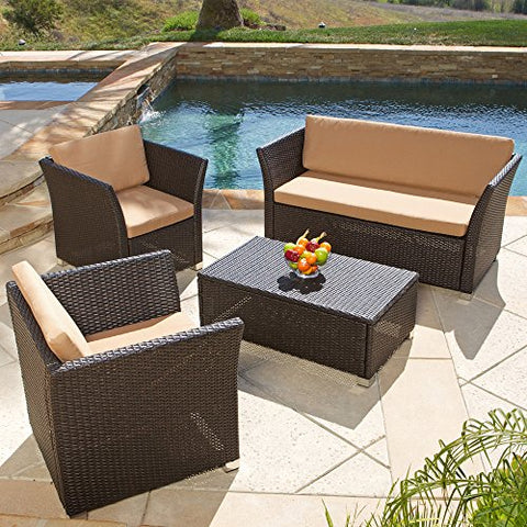 Modern Outdoor Brown Resin Wicker 4 Piece Sofa Patio Furniture Set with Tan Cushions