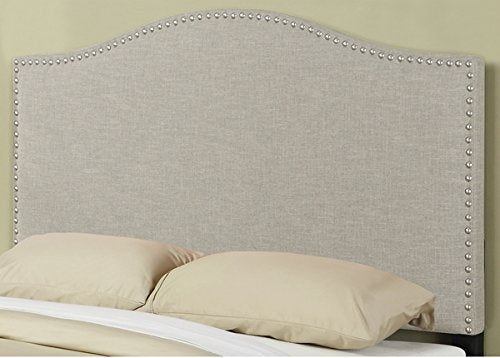 Modern Arch Upholstered Padded Beige Linen Fabric Queen Headboard with Silver Nailheads