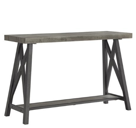 Modern Industrial Rustic Wood Console Entryway Sofa Table with Lower Shelf and Metal X Base (Gray)