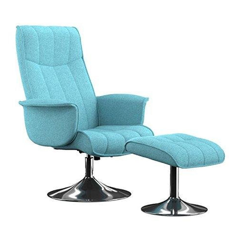 Modern Swivel Turquoise Blue Linen Metal Framed High Back Arms Chair and Ottoman with Chrome Pedestal Base