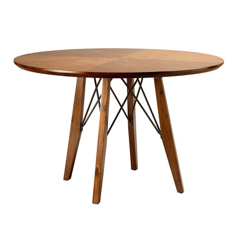Mid Century Modern 45 inch Round Wood Adjustable Height Dining Table with Metal Stretchers