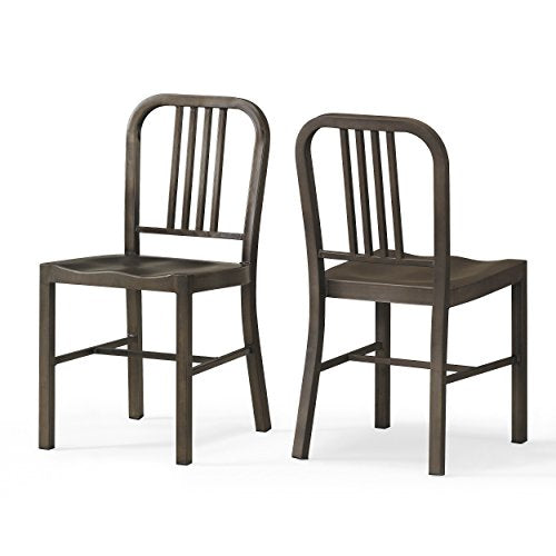 Set of 2 Bronze Metal Chairs with Back in Glossy Powder Coated Finish Steel Dining Indoor
