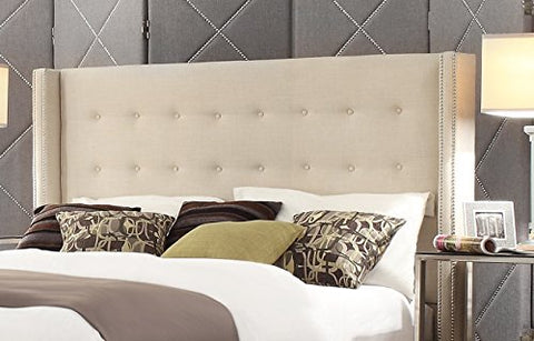 Modern Button Tufted Wingback Beige Upholstered Padded Headboard with Metal Nailheads