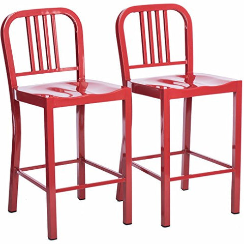 Set of 2 Red Modern Industrial Metal Counter Stools with Back in Glossy Powder Coated Finish Steel Dining Indoor