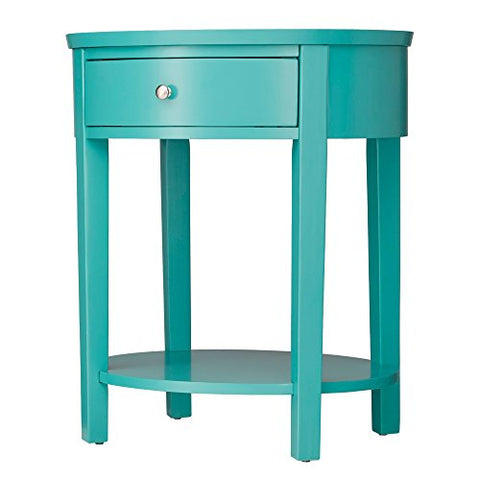 ModHaus Teal Green Accent Table with Drawer | Modern Oval Shaped | Wood Finish