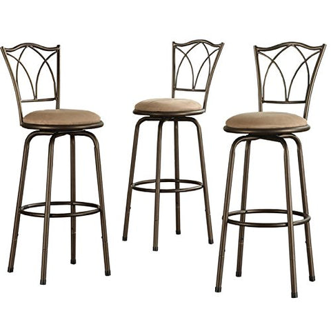 Home Creek Double X Detail Adjustable Swivel Barstools - Set of 3