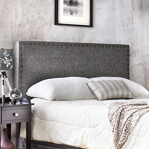 Modern Upholstered Padded Gray Linen Fabric Queen Headboard with Antique Brass Nailheads