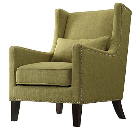 Contemporary Green Linen Upholstered Accent Wingback Chair with Silver Nailhead Detail & Accent Pillow