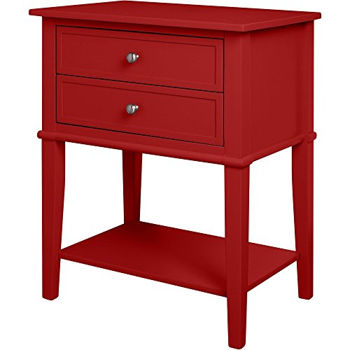 Contemporary Wood Accent Side Table with 2 Drawers and Lower Open Shelf (Red)