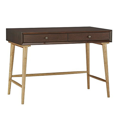 Mid Century Modern Wood Computer Writing Desk with 2 Drawer and Natural Legs  (Brown)