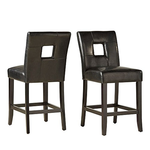 Stupendous Modern Black Square Keyhole Counter Height Stools Black Finish Wooden Legs Set Of 2 Gamerscity Chair Design For Home Gamerscityorg