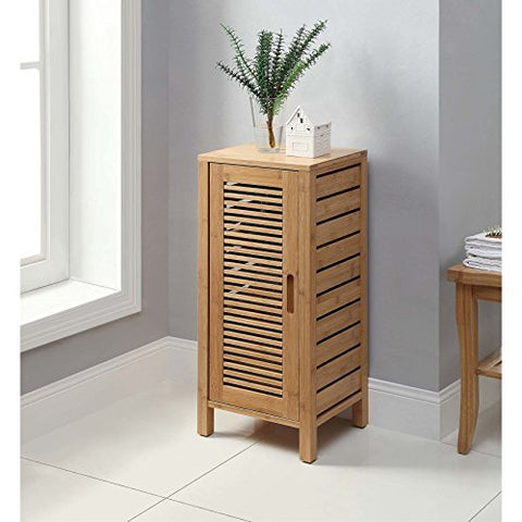 Modern Transitional Wood 1 Door Floor Storage Cabinet in Natural Finish