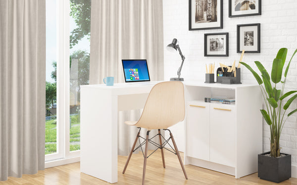 Contemporary L Shaped Office Desk with 2 Door and Shelves (White)