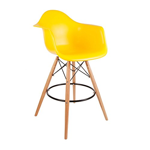 ModHaus Mid Century Modern Eames DAW Style Yellow Counter Stool with Dowel Wood Base HIGH QUALITY Satin Finish