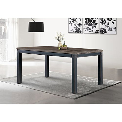 Modern Industrial Weathered Gray Dining Table