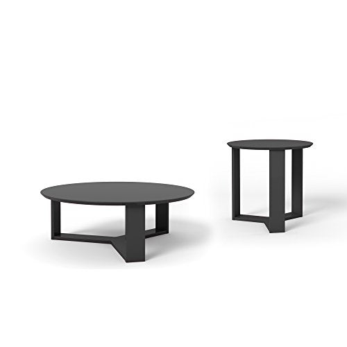 Contemporary Modern Wooden 2 Piece Set Coffee and Accent End Table with 3 Sided Geometric Base (Black Gloss)