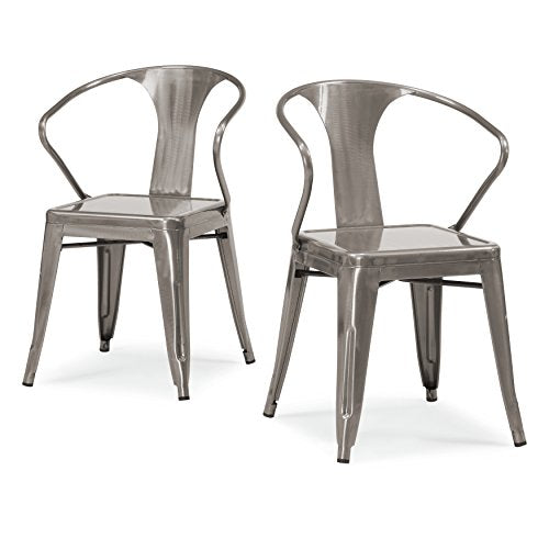 ModHaus Set of 4 Gunmetal Chairs in Glossy Powder Coated Finish Steel Stackable Dining