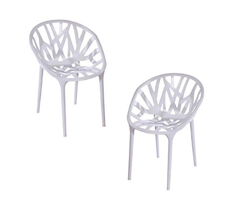 ModHaus Modern White Chair Indoor and Outdoor - Set of 2
